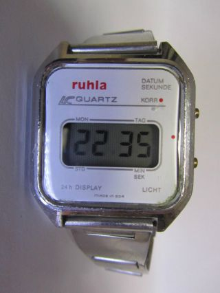 Ruhla Lcd Digital Ddr Quartz Uhr Mit Alu Band Seltenes Modell 16 - 01 _2 Bild