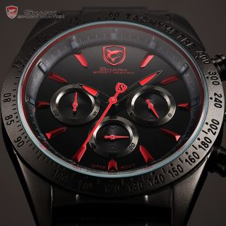 Shark Herrenuhr Quarzuhr Analog 6 Zeiger Gummi/leder Armband Uhr 6 Modelle D Bild