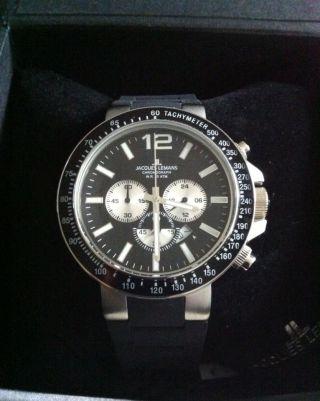 Jacques Lemans Chronograph Armbanduhr Milano 100m Wasserdicht Silikonband Bild