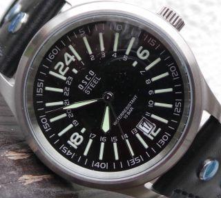 42mm Große Osco,  Deutsche Herrenuhr,  Sportliche,  Schwarze Uhr,  Topp Disign Bild