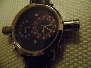 Herren Armbanduhr,  Jay Baxter,  Echt Leder Armband Braun,  Dual Uhrzeit Bild