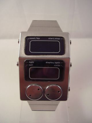Heuer Chronosplit Split Lap Unit 77 Ford Rs Digital Uhr Armbanduhr Watch 70er Bild