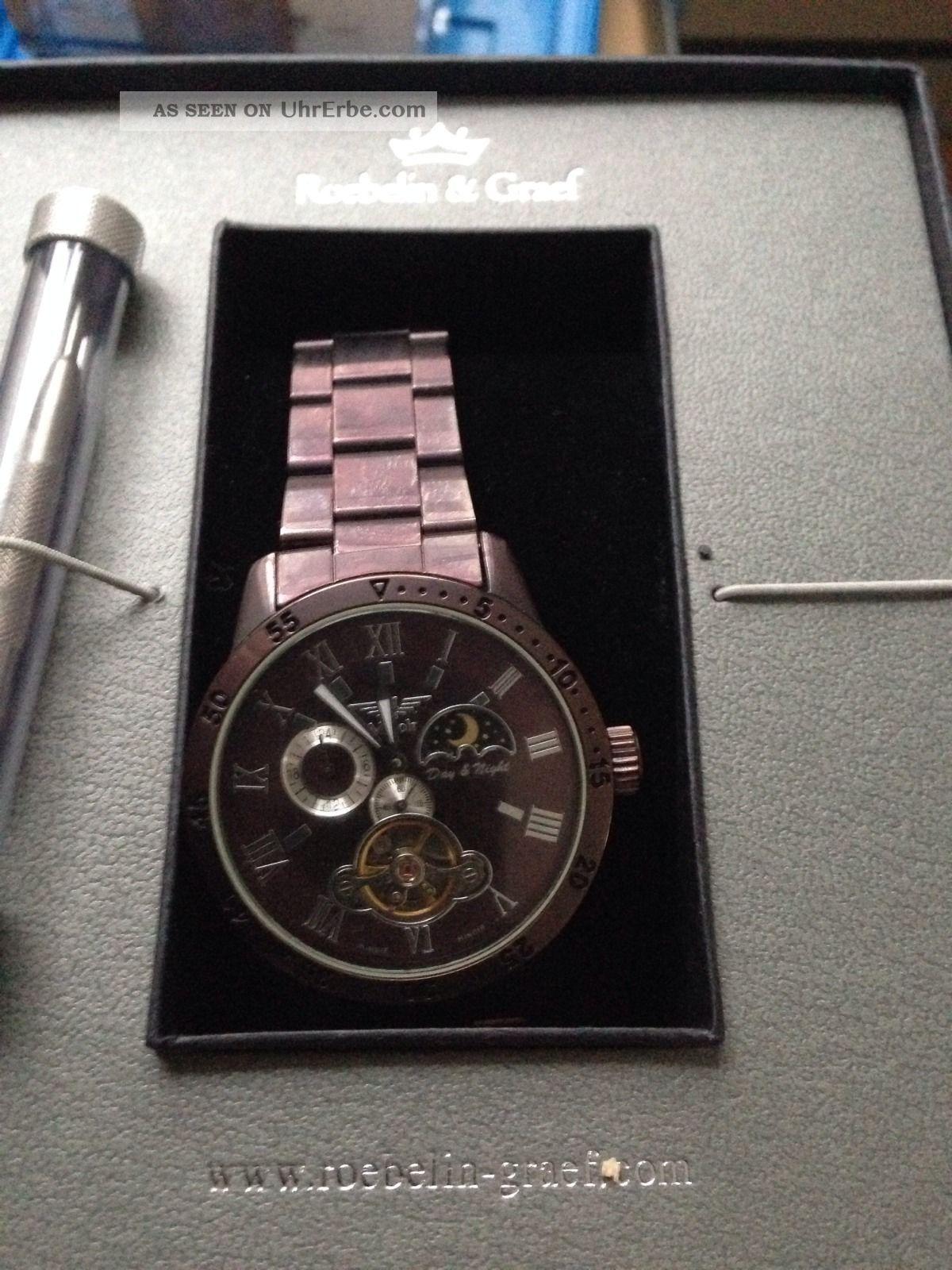 Roebelin & Graef Karthago Automatikuhr,  Armbanduhr,  Herrenuhr,  Sonne Mondphase Armbanduhren Bild
