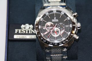 Herrenuhr Festina Chronograph Und Tachymeter Edelstahl Armband F16488/5 Uhr Bild