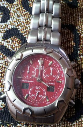 Time Force Chrono Chronograph Rotes Carbon Zifferblatt Analog Digital Sehr Gut Bild