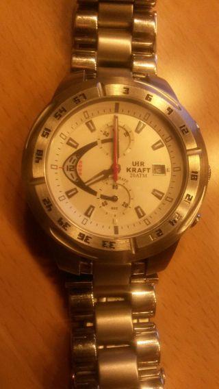 Uhrkraft Chronograph 14313/1 Gut Erhalten Neue Batterie Bild