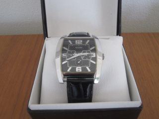 ✪ Guess Herren Uhr Herrenarmbanduhr Leder Silber ✪ Bild