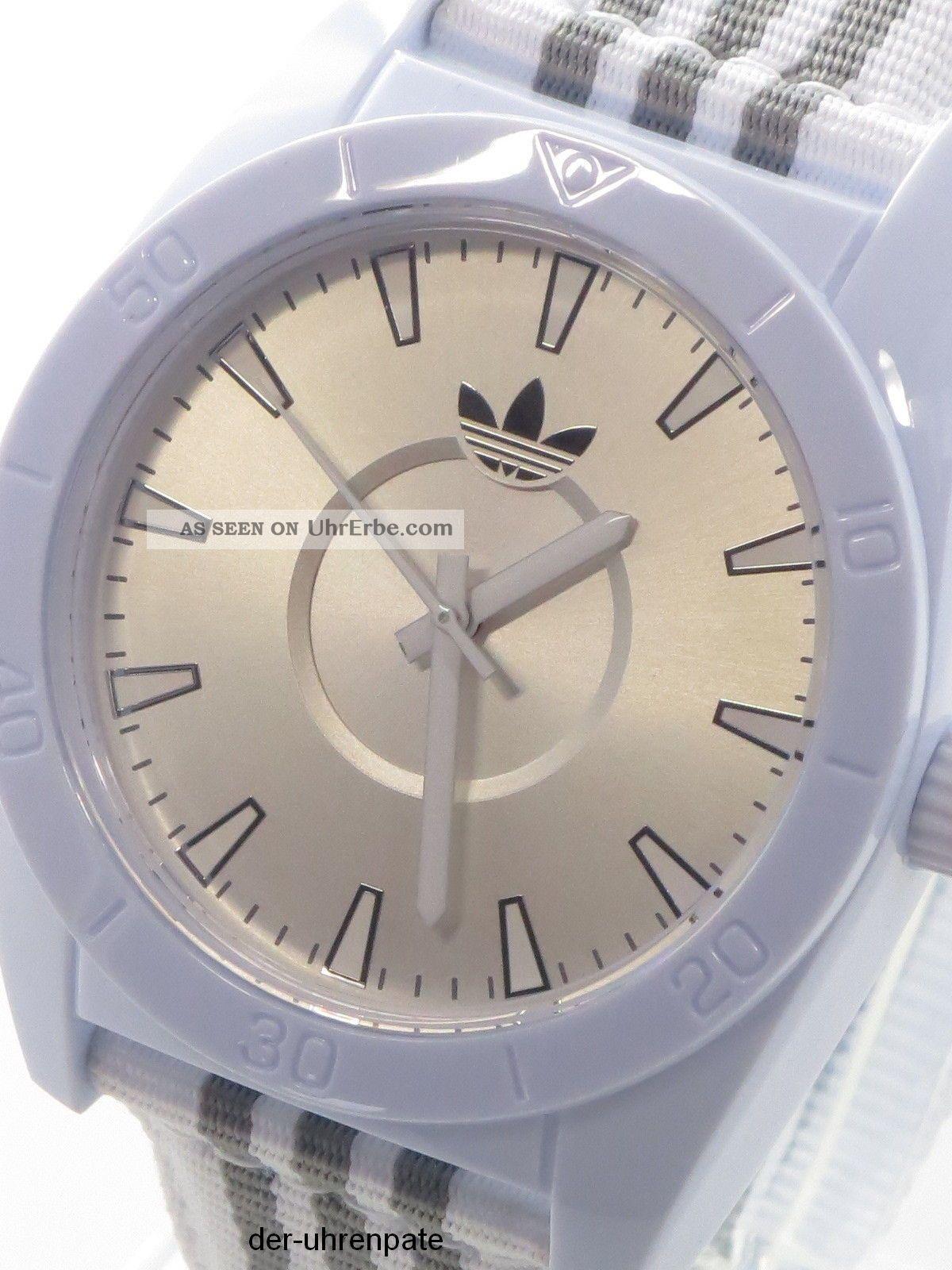 Adidas Herrenuhr / Herren Uhr Textil - Stoffband Santiago Silber Weiß Adh2660 Armbanduhren Bild