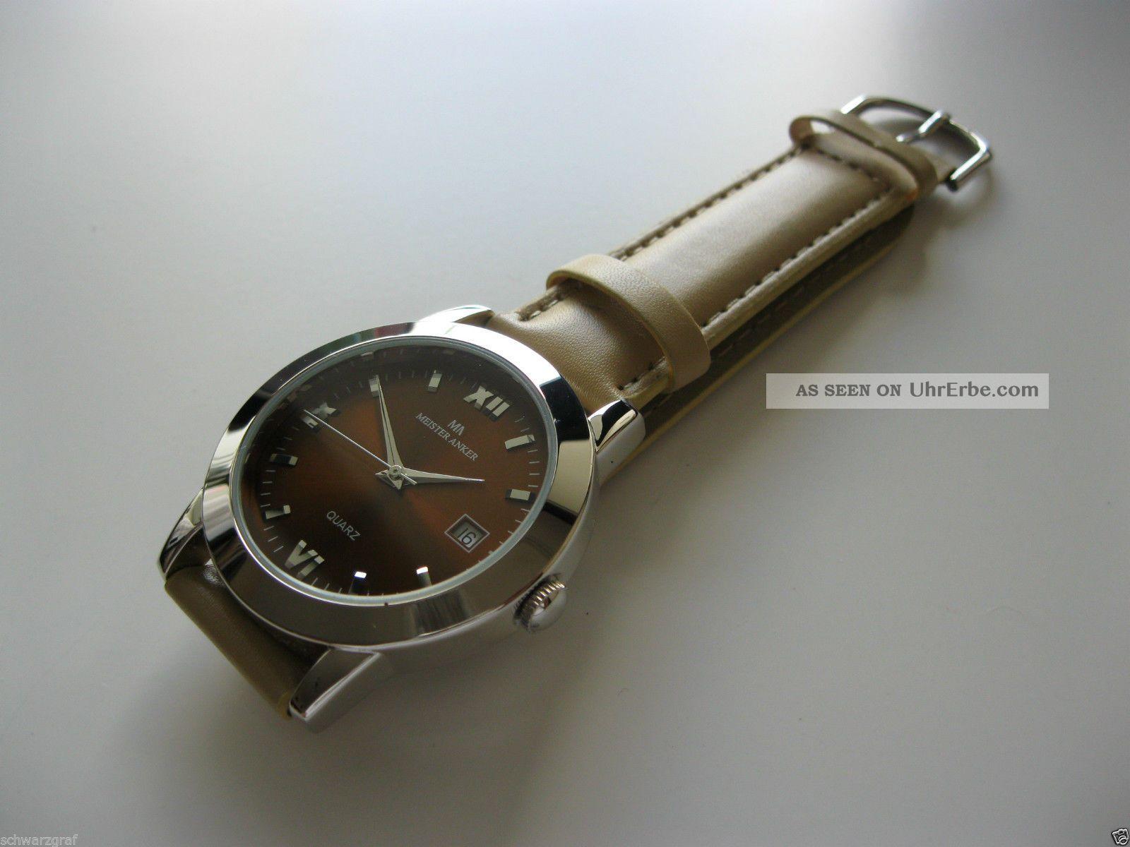 Meister - Anker Herrenuhr,  Datum,  Analog,  Quarzwerk, Armbanduhren Bild