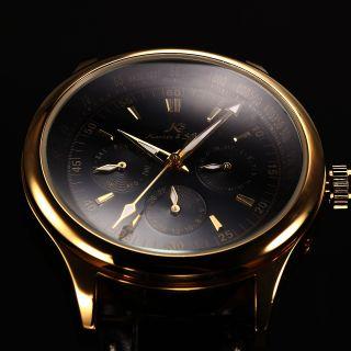 V Ks Herren Automatikuhr Golden Gehäuse Datums Tages Leder Armband Schwarz Bild