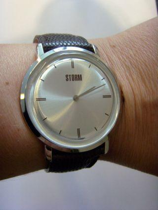 Storm London Uhr Duke Silver Stormuhr Mal Klassisch Mit Lederband Flach Bild