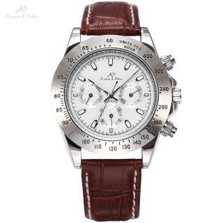 V Ks Elegante Automatikuhr Silber Gehäuse Stunden Tage Datum Braun Armband Bild