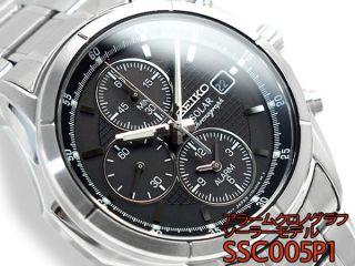 Herren Solar Chronograph Seiko Armbanduhr Alarmfunktion Ssc005p1 Bild