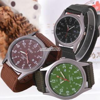 Herrenuhr Datum Quarz Canvas Armband Military Uhr Sportuhr Armbanduhr Spangenuhr Bild