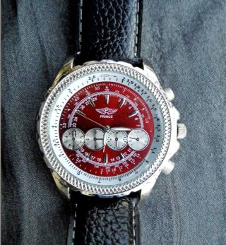 Prince London Uhr,  Silber/rot/ Armband Leder Schwarz Bild