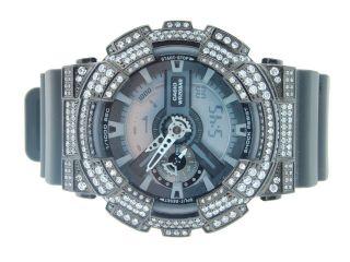 Herren Armbanduhr G - Shock Weiß Simuliert Diamant Schwarzer Stil Joe Rodeo 5 Ct Bild