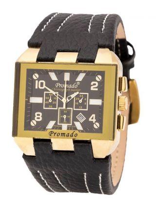 Chronograph Herrenuhr Promado Angolo Schwarz Gold Edelstahl Datum Leder Bild