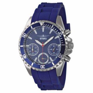 Stuka Handiko Blue Herren Uhr Chronograph Edelstahl Silikonband Blau Watch Bild