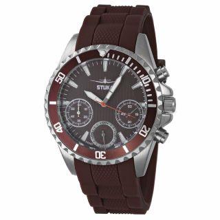 Stuka Handiko Brown Herrenuhr Chronograph Edelstahl Silikonband Braun Watch Bild