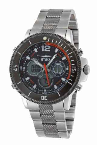 Stuka Apex Orange Edelstahl Armbanduhr Herren Chronograph Digital & Analog Bild