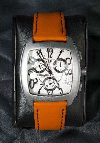 Lancaster Italy Aluminium Chronograph Intrigo Leder Armbanduhr Bild
