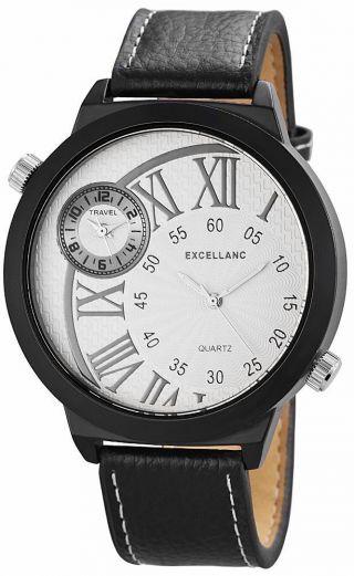 Excellanc Herren Uhr Analog Dual Time Schwarz Silber Armbanduhr Bild