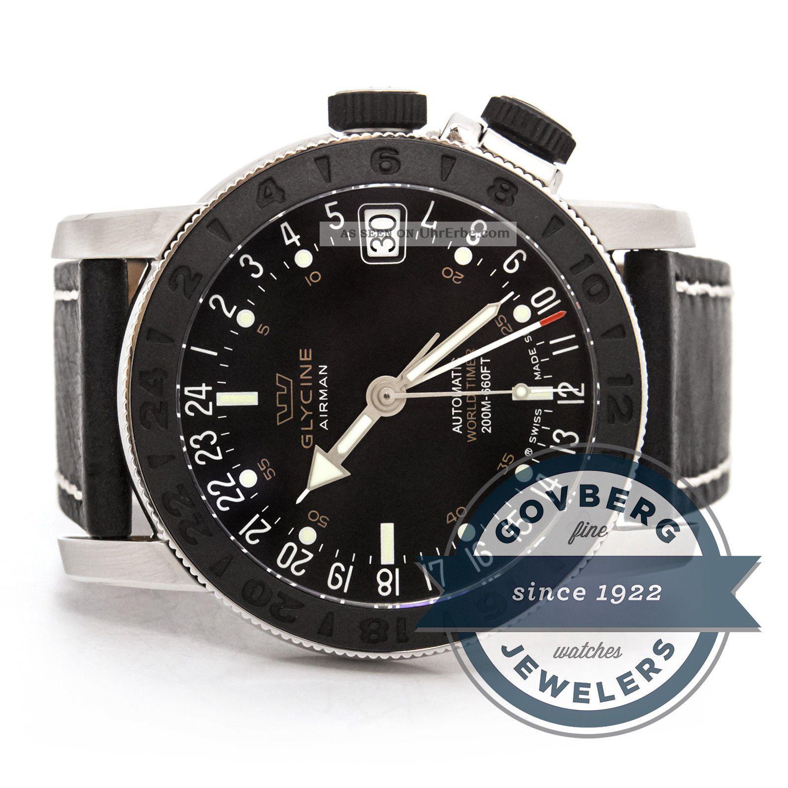 Glycine Airman 17 - Automatische Stahl Armbanduhr Mit Schwarzem Ziffernblatt Armbanduhren Bild