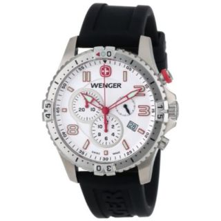 Wenger Herren Squadron Chrono 77050 White Dial Rubber Strap Watch Bild