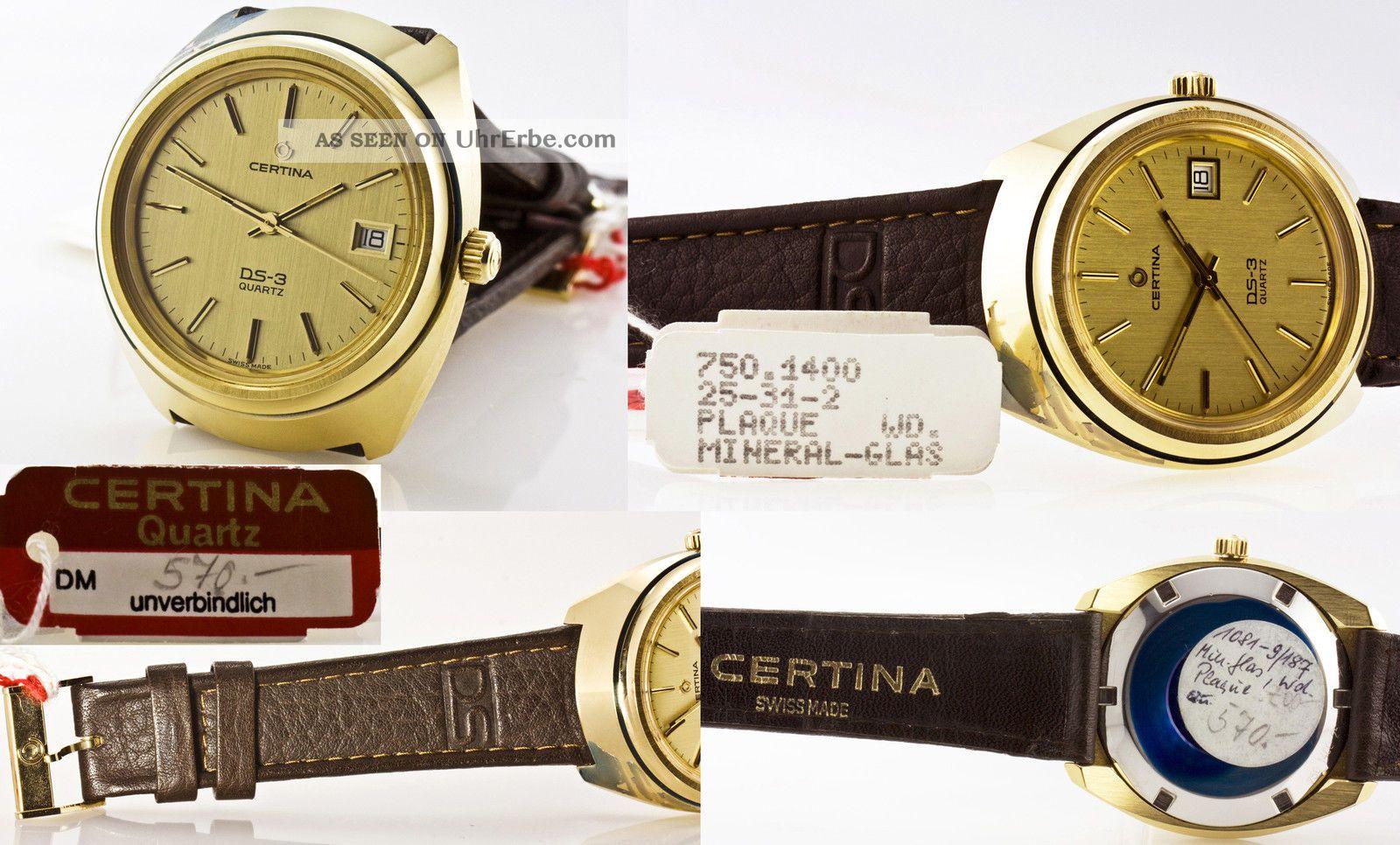 Nos Certina Ds - 3,  Kaliber 750/eta - Esa 9361,  Swiss Ca.  1980 Armbanduhren Bild