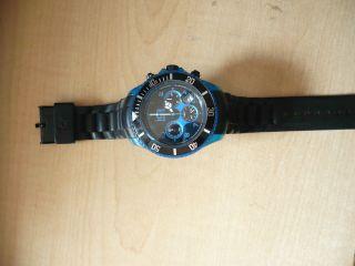 Originale Ice Watch Blau Groß Mit Stoppuhr Und Datumsanzeige Bild