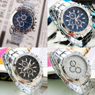 Mode Chronograph Uhren Herrenuhr Edelstahl Armbanduhr Quarzuhren Sportuhr Watch Bild
