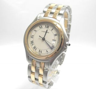 Cartier Panthere Cougar Ronde Stahl /gold Grosses Modell Bild