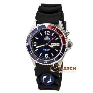 Herren Armbanduhr Orient Cem65003d Automatisch Blau & Rot Lünette Blau Gummiband Bild