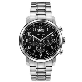 Bulova Herren Uhr 96b202 Chrono Schwarzes Ziffernblatt Edelstahl Armband Uhr Bild