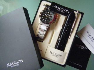 84,  95 Madison York Uhr Metall Armband & Lederarmband Geschenk Packung Bild