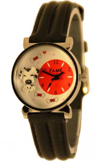 Kinderuhr Analoge Leder Kids Watch Armbanduhr Analog Mit Hunde Motiv Bild