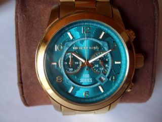 Michael Kors Uhr Mk 8315 Hungerstop Goldfarben Türkisfarb.  Ziffernblatt Bild