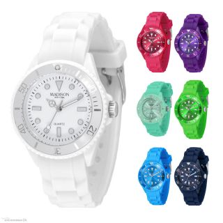 Madison York Candy Time Mini Silikon Damen Kinder Uhr Trend Uhren Armbanduhr Bild