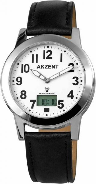 Weltweite Funk Armbanduhr Herrenuhr Analog Digital Dcf 77 Atom Uhr Signal Weiß Bild