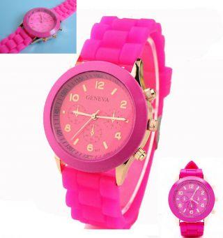 Silikon Armbanduhr Uhr Quarz Rosa Pink Unisex Analog Sport Bild