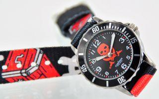 Pallas Kinderarmbanduhr Schwarz Totenkopf Mit Stoffband Armbanduhr 7525.  79.  16 Bild