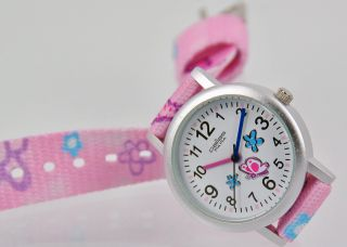 Pallas Kinderarmbanduhr Pink Mit Stoffband Armbanduhr Uhr 7425.  11.  19 Bild
