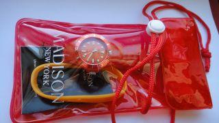 Madison York Armbanduhr Damen Mädchen Jungen Uhr Silikon Orange Bild
