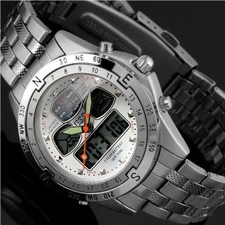 D Herrenuhr - Fliegeruhr Style - Edelstahl Herren Armband Uhr - Wm0014 - Ess Bild