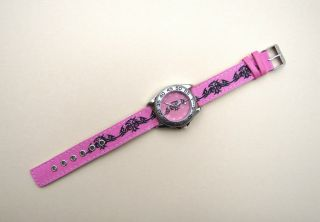 Kinderuhr Armbanduhr Quarz Youngster Mit Tribal Lederband Rosa Bild
