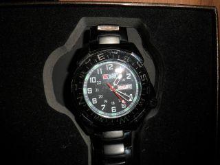 D Military Royale Herren Fliegeruhr - Schwarz Edelstahl - Armband Uhr - - Mr004 Bild