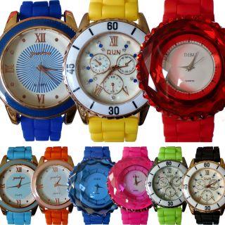 Trend Neon Uhr Silikon Armbanduhr Damenuhr Sport Trend Damen Gummi Bunt Sommer Bild