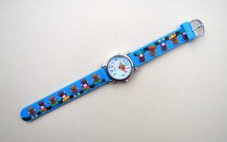 Kinderuhr Armbanduhr Quartz Bärenparade Blau Kinderarmbanduhr Bild