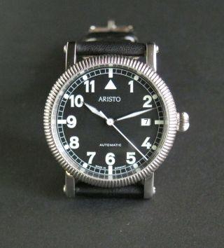 Aristo Uhr 4h68 - Edelstahl - Offizier - Fliegeruhr - Automatikwerk - Glasboden Bild