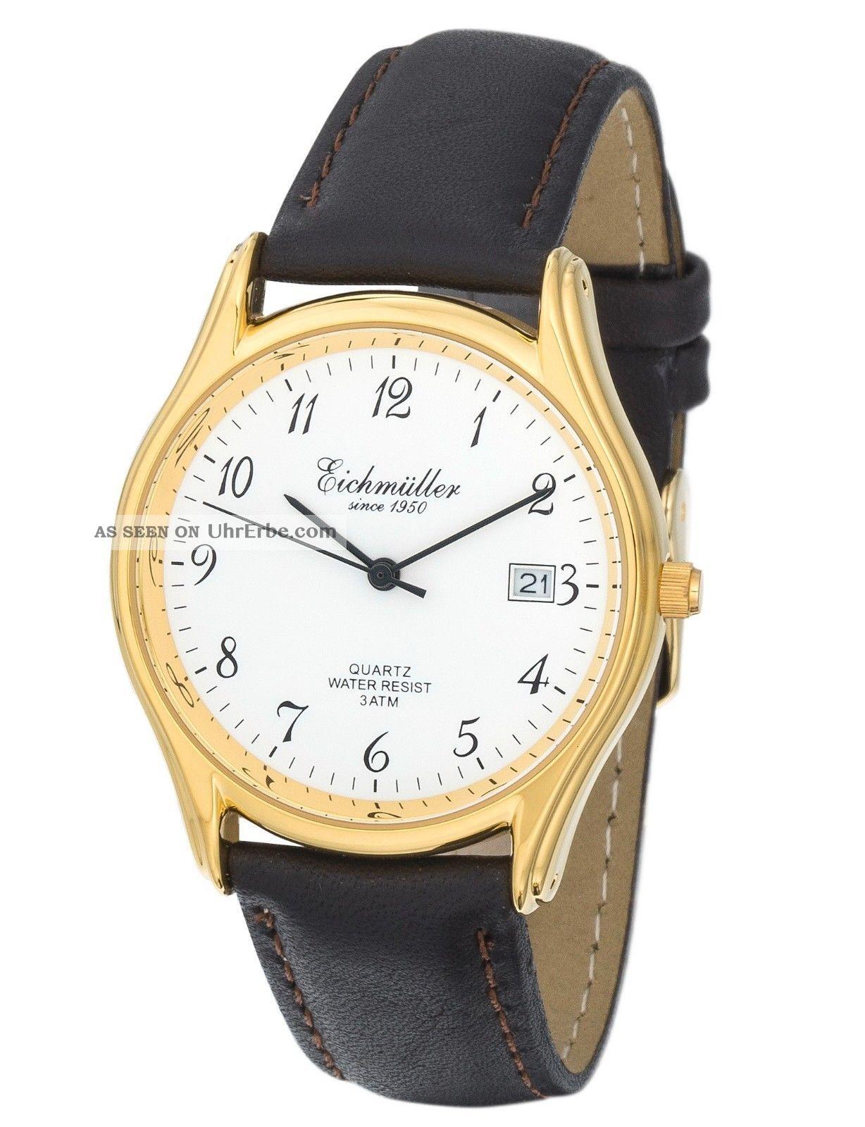Feine EichmÜller Uhr Herrenuhr Damenuhr Miyota Quarzuhr Klassiker Mit Datum Armbanduhren Bild